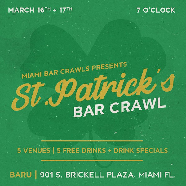 St. Patrick's Day Bar Crawl in Miami Flyer