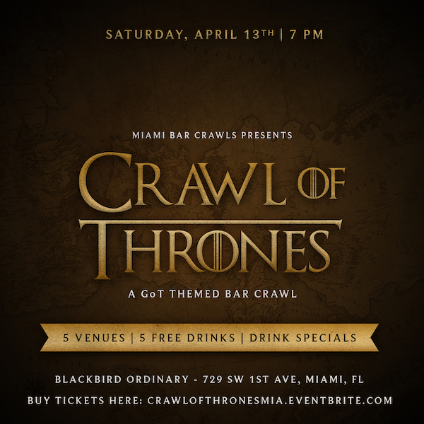 Flyer for Crawl of Thrones - Game of Thrones Bar Crawl