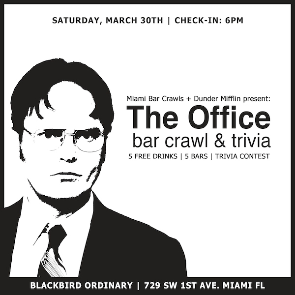 Flyer for The Office Bar Crawl and Trivia