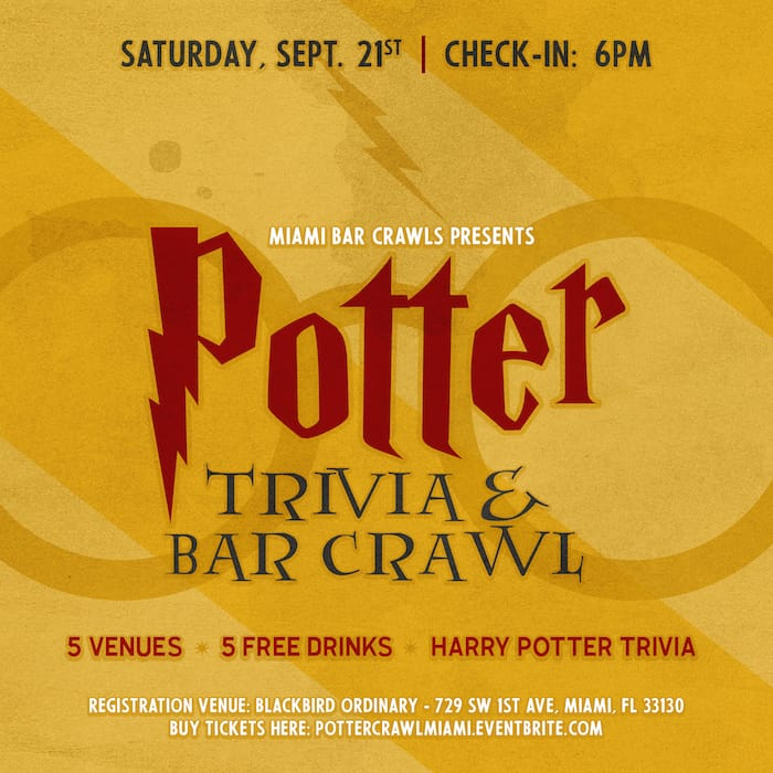 This is an image of a flyer for the Potter Trivia & Bar Crawl event taking place in Miami.
